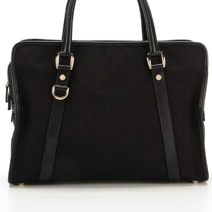 Gucci Briefcase in GG Canvas with Leather Trim