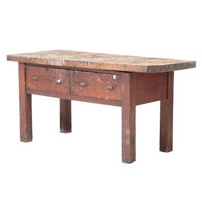 American Primitive Maple and Pine Two-Drawer Work Table, Late 19th/Early 20th C.