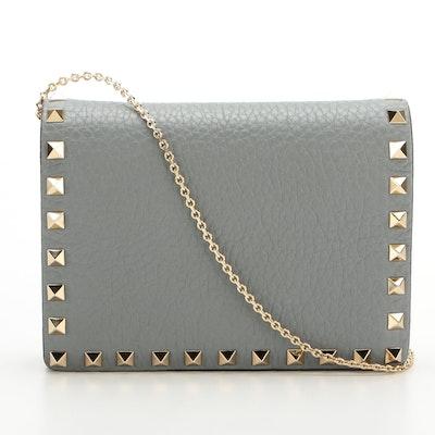 Valentino Rockstud Wallet on Chain in Azure Grained Calfskin