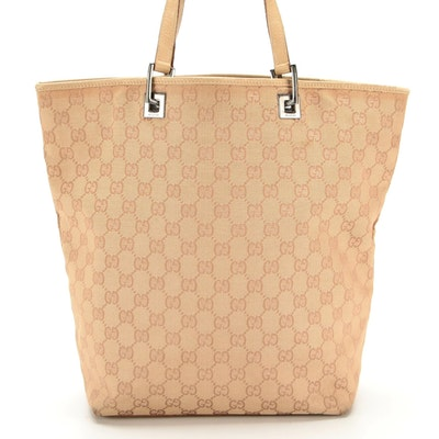 Gucci Tote in Tan GG Monogram Canvas and Leather