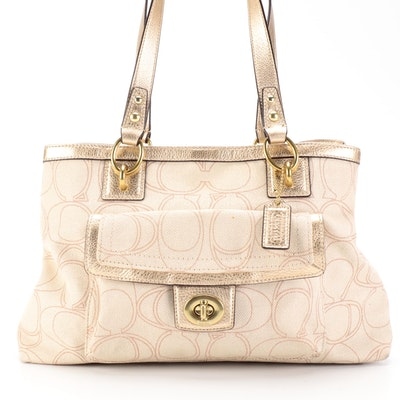Coach Penelope Signature Canvas and Gold Metallic Grained Leather Tote