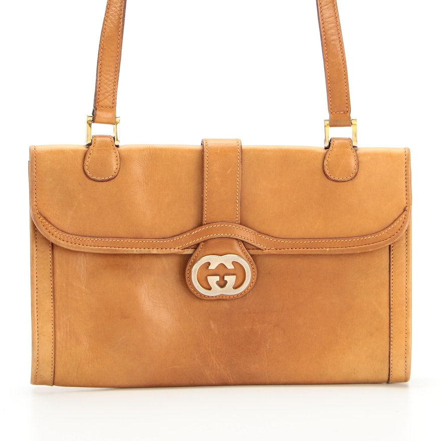 Gucci GG Clasp Shoulder Bag in Camel Leather