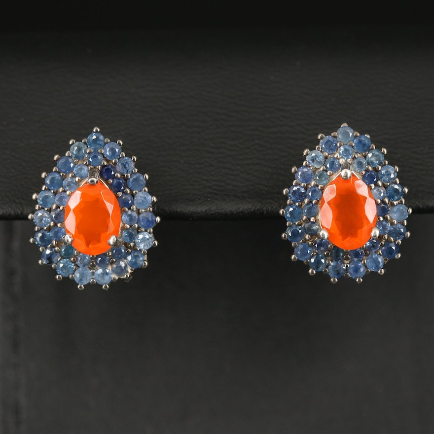 Sterling Silver Fire Opal and Sapphire Double-Halo Earrings