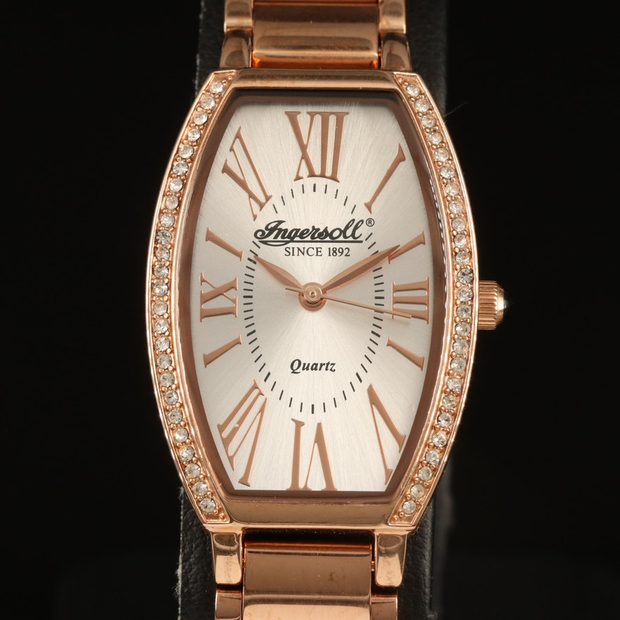 Ingersoll Lansing Rose Gold Tone and Crystals Wristwatch