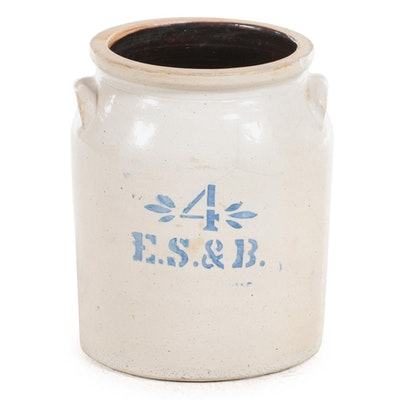 E. S. & B. of Pennsylvania 4-Gallon Salt Glazed Stoneware Crock, Late 19th C.
