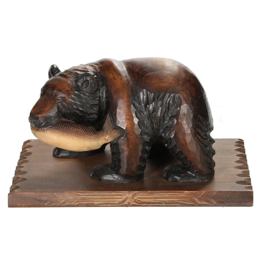 Japanese Hokkaido Ainu Carved Wood Bear on Base, Mid-20th Century