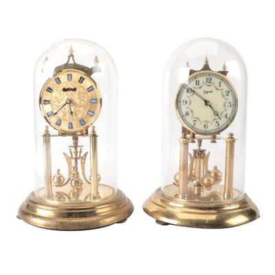 Welby and John Wanamaker Glass Domed Anniversary Clocks, Mid-Late 20th Century