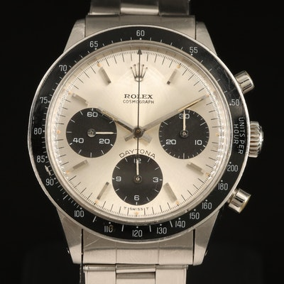 1968 Rolex Cosmograph Daytona 6241 Stainless Steel Stem Wind Wristwatch