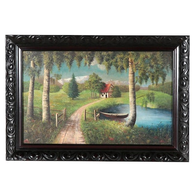 Landscape Oil Painting of Rowboat on Lake, Mid-20th Century