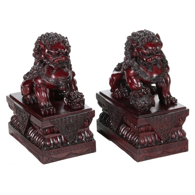 Pair of Chinese Guardian Lion Resin Statuettes