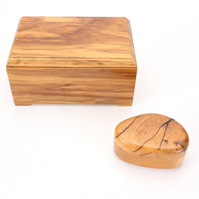 Decorative Burl and Wood Jewelry and Vanity Boxes