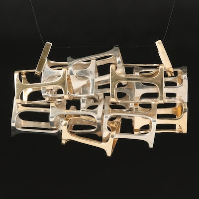 Sterling and 14K Geometric Sculptural Pendant
