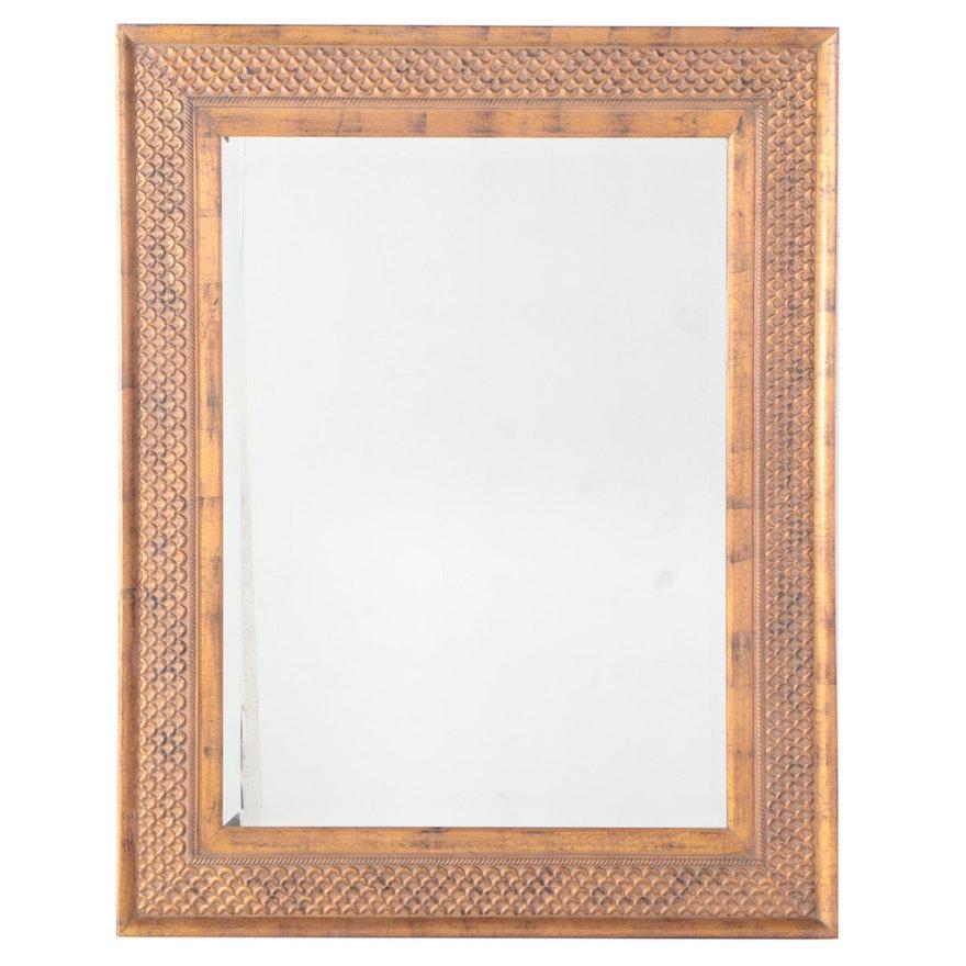 Gilt Composite Framed Rectangular Beveled Glass Mirror