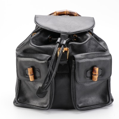 Gucci Large Bamboo Backpack in Black Leather