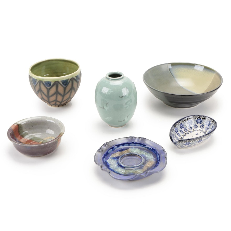 """Sango """"Intrigue"""" Ceramic Bowl with Other Art Pottery Bowls, Vase, and More"""