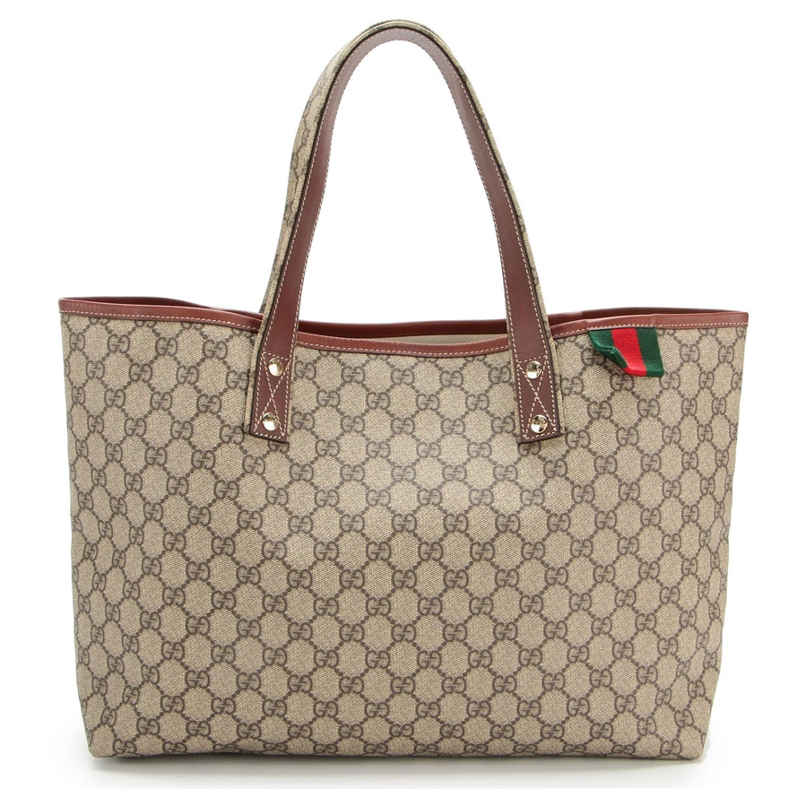 Gucci GG Supreme Canvas and Leather Tote Bag