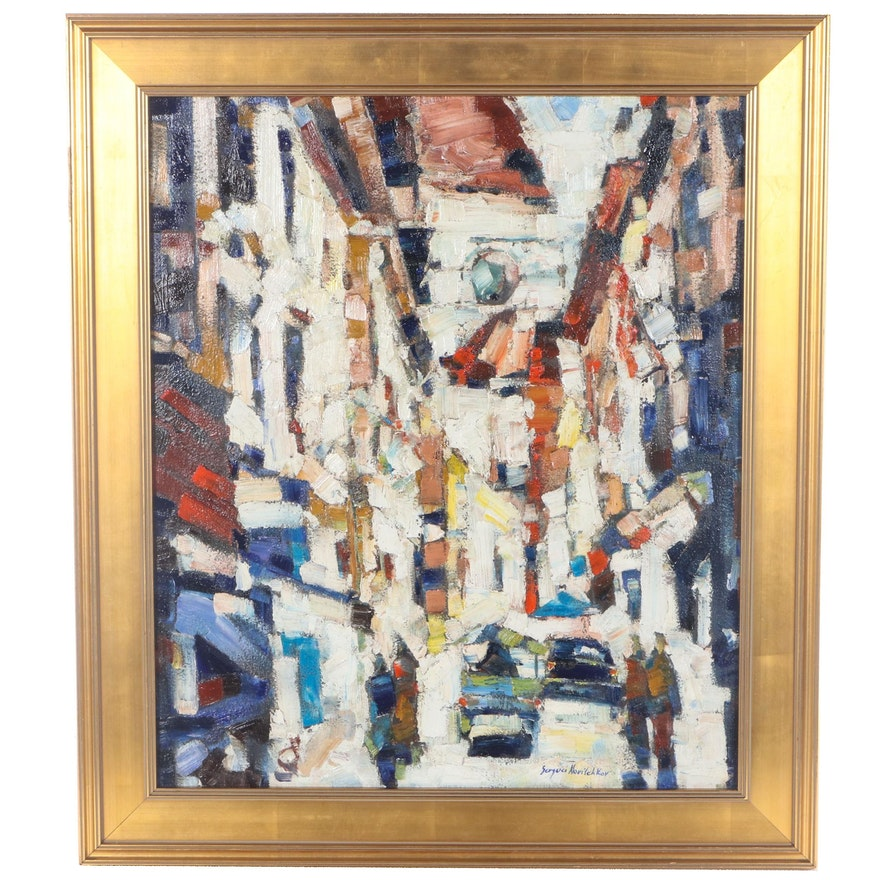 "Serguei Novitchkov Abstract Oil Painting ""Street in Taormina, Sicily,"" 2015"