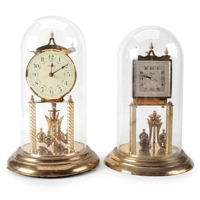 Kundo Glass Domed Anniversary Clocks, Mid to Late 20th Century