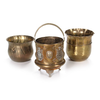 Moroccan Brass Footed Handled Bucket with Indian Brass Buckets