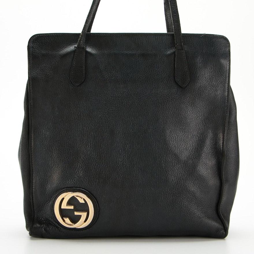 Gucci Logo Black Grained Leather Shoulder Tote