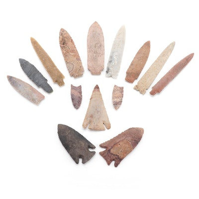 Native American Corner and Side Notched Projectile Points Including Reproduction