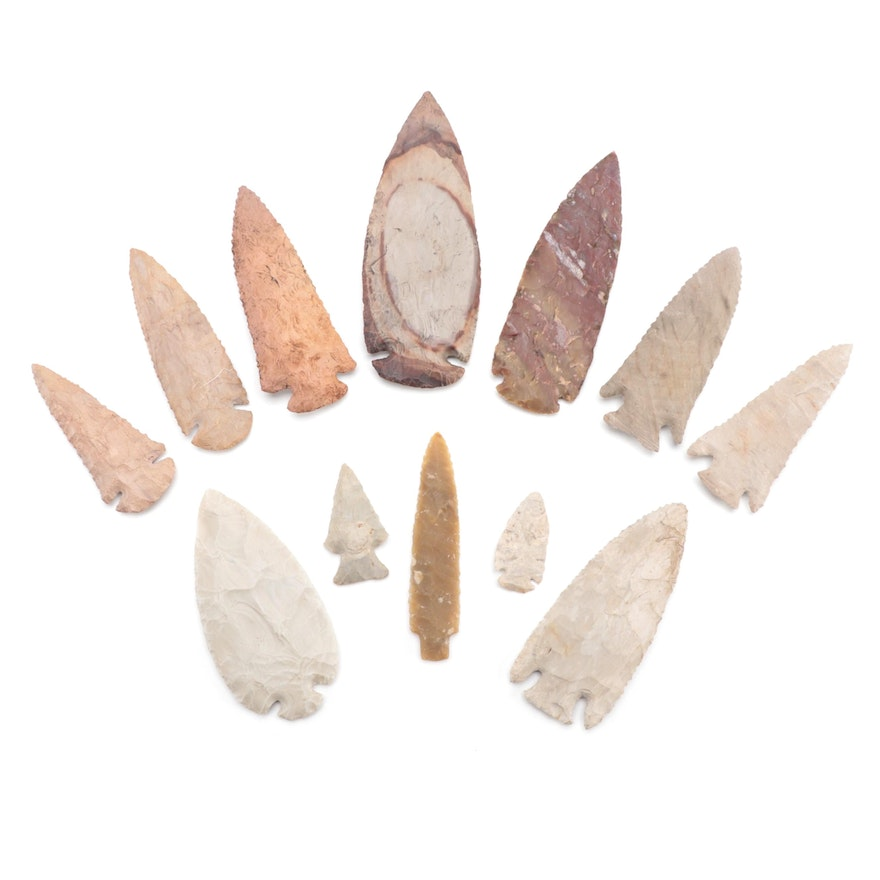 Native American Corner Notched and Dovetail Serrated Projectile Points