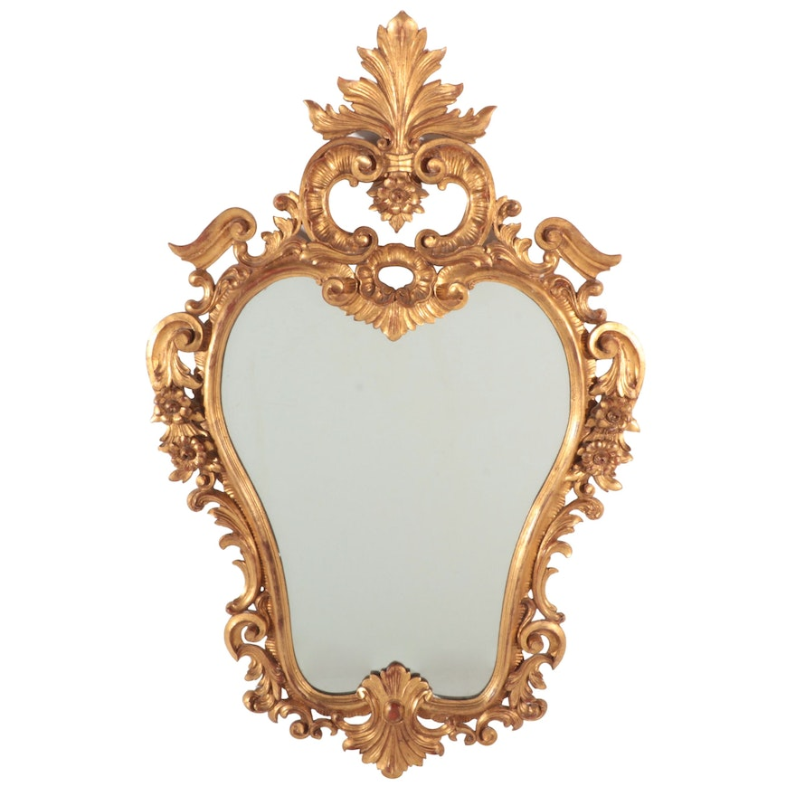 Rococo Revival Style Giltwood and Composition Foliate Wall Mirror