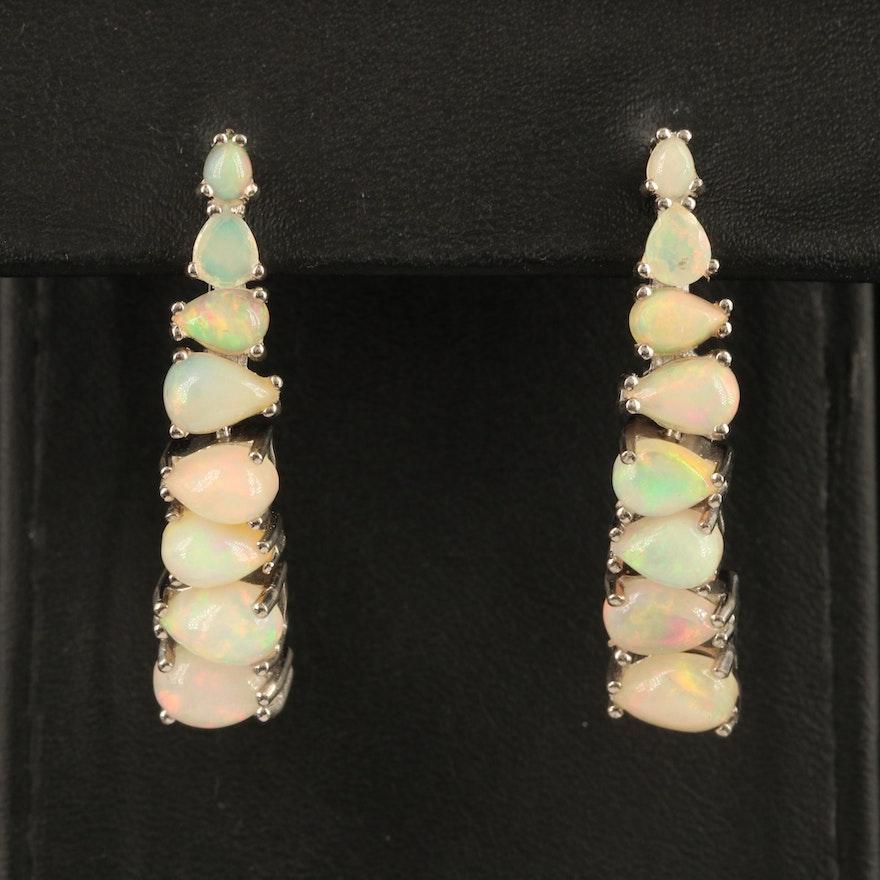 Sterling Graduated Opal Earrings