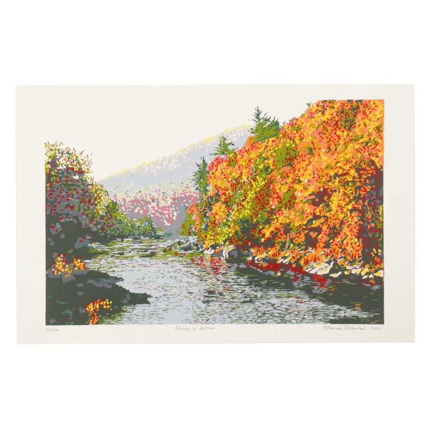 """Thomas Norulak Serigraph """"Ohiopyle Autumn,"""" 2001"""