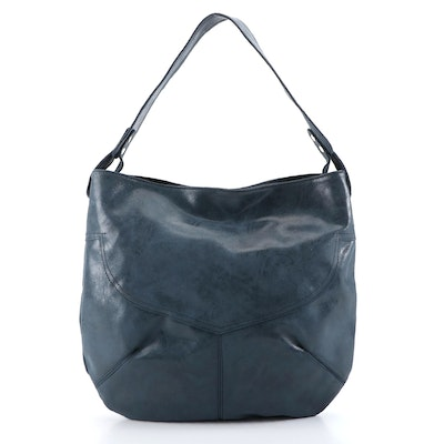 Cofi Blue Leather Shoulder Bag, New with Merchant Tags