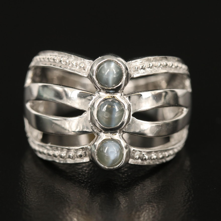 Sterling Silver Cat's Eye Alexandrite Three Stone Ring