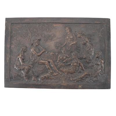 "Patinated Cast Bronze Plaque After Edmund Spencer ""Astrophel"""