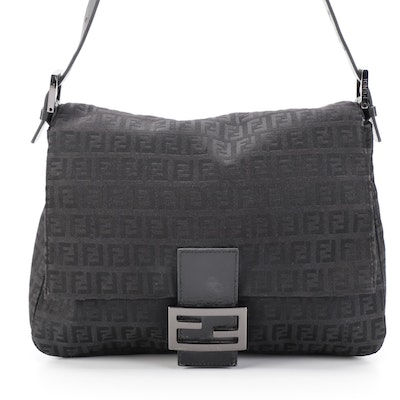 Fendi Mama Baguette Shoulder Bag in FF Zucchino Canvas with Leather Trim