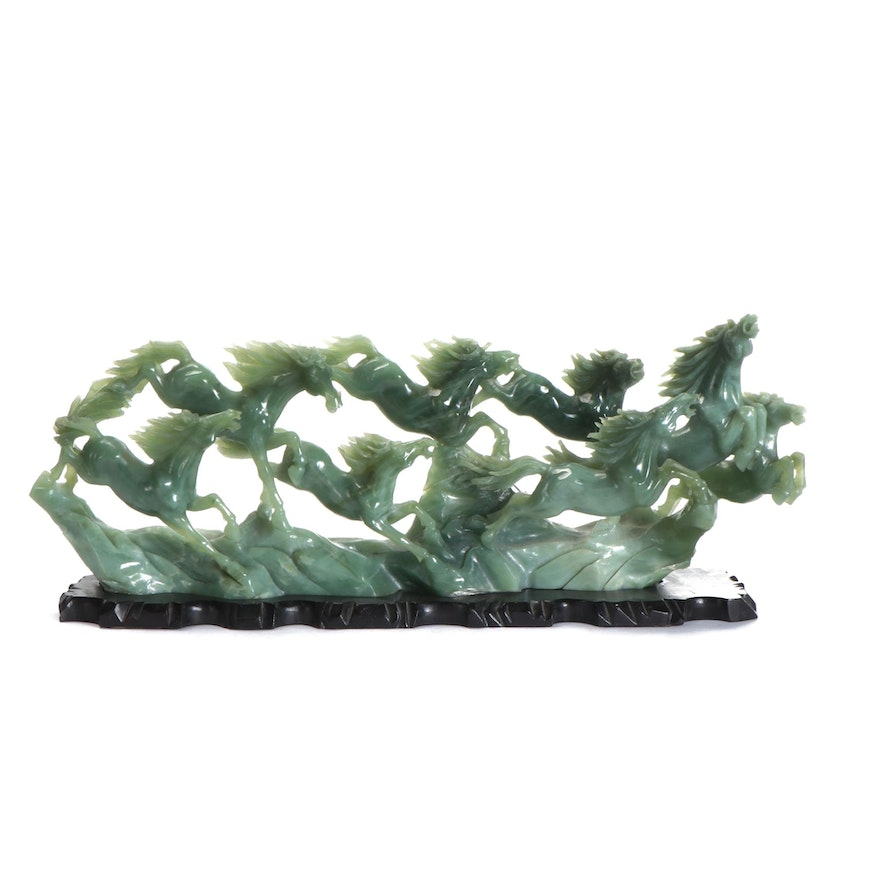 Monumental Chinese Carved Bowenite Figure of Galloping Horses on Wood Base