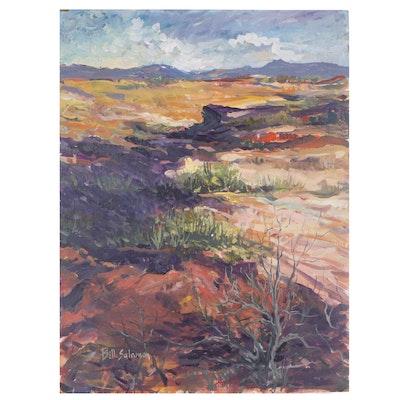 "Bill Salamon Acrylic Painting ""Purple Desert"""