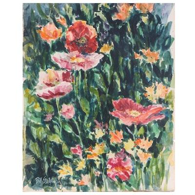 "Bill Salamon Watercolor Painting ""Poppies"""