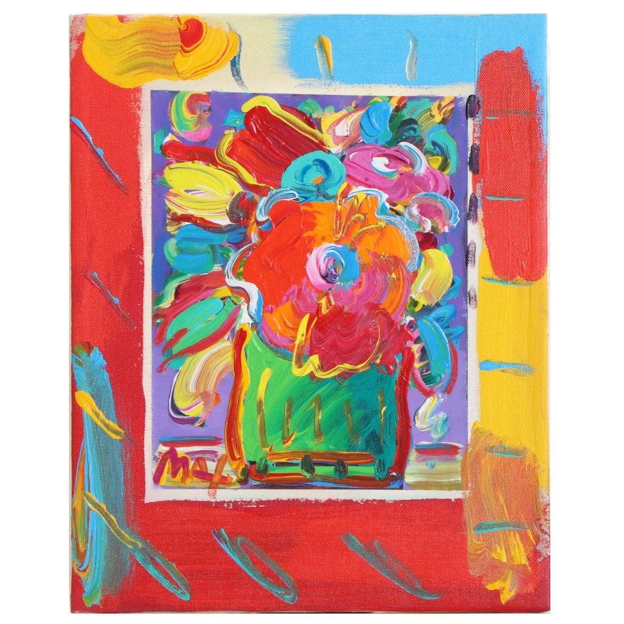 Peter Max Floral Still Life Mixed Media Painting, 1996