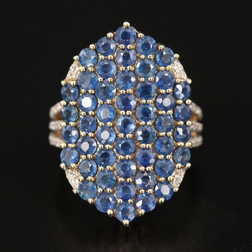 Sterling Silver Sapphire and Zircon Cluster Ring