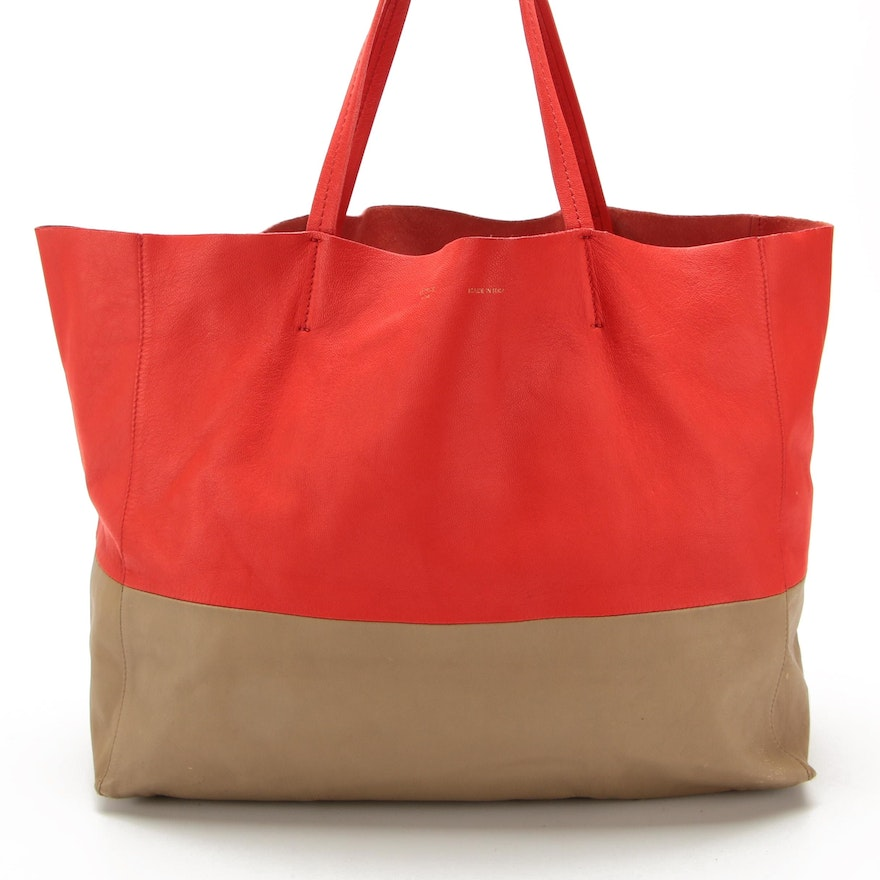 Céline Horizontal Cabas Tote in Red and Grey Leather