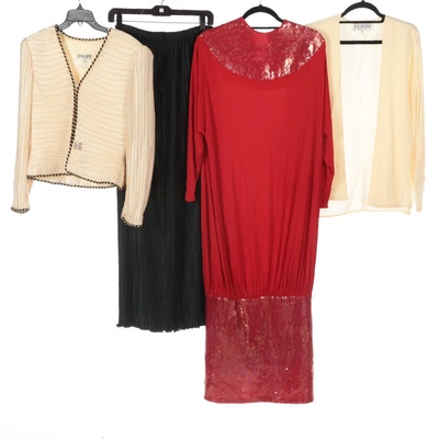 George F. Couture Jacket, Plissé Skirt, Gianfranco Ferre Top, and Hattie Dress