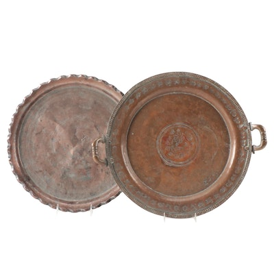 Persian Hand-Chased Copper Plated Trays, 20th Century
