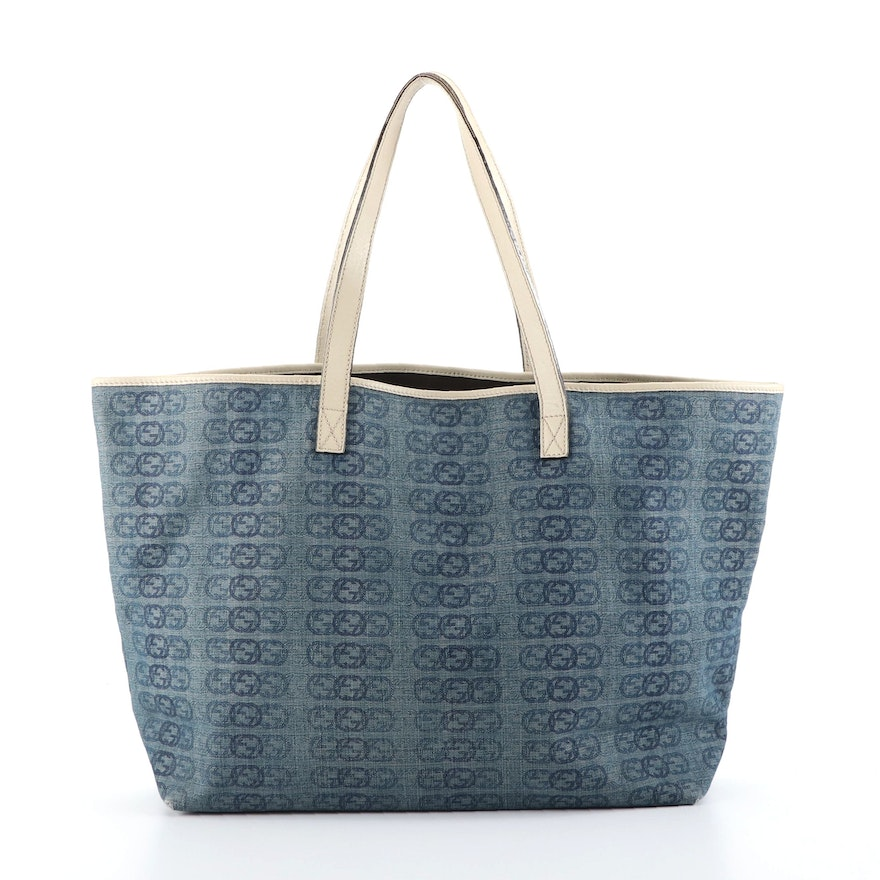 Gucci GG Monogram Denim Large Tote with Leather Trim