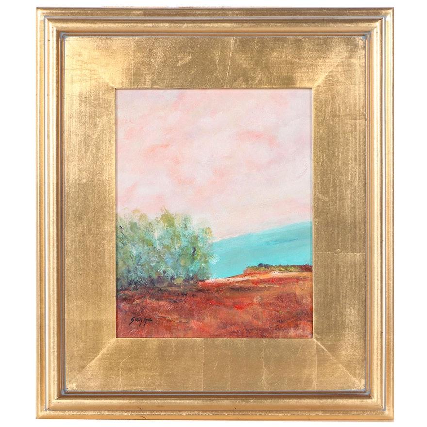 "Sanna Landscape Acrylic Painting ""Standing Guard,"" 2021"