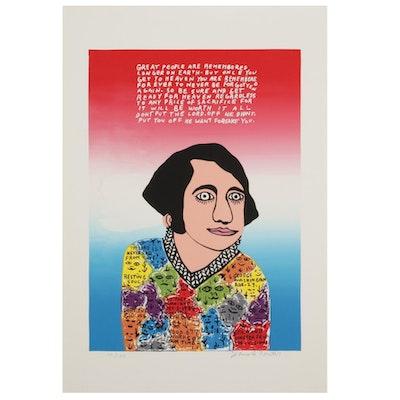 "Howard Finster Folk Art Serigraph ""Young George,"" Circa 1988"