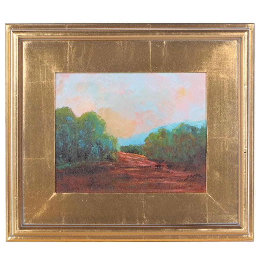 "Sanna Landscape Acrylic Painting ""Following the Path,"" 2021"