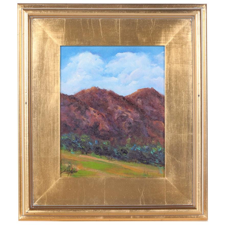 "Sanna Acrylic Painting ""Twin Peaks,"" 2021"
