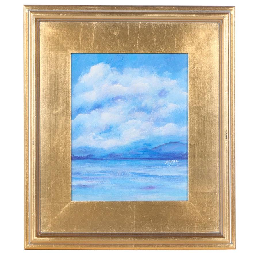 """Sanna Acrylic Painting """"Cloudy Study,"""" 2021"""