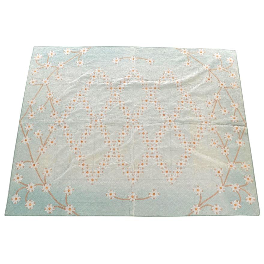 "Mahlon Gast Handmade ""Dogwood"" Appliqué Cotton Quilt, 1936"