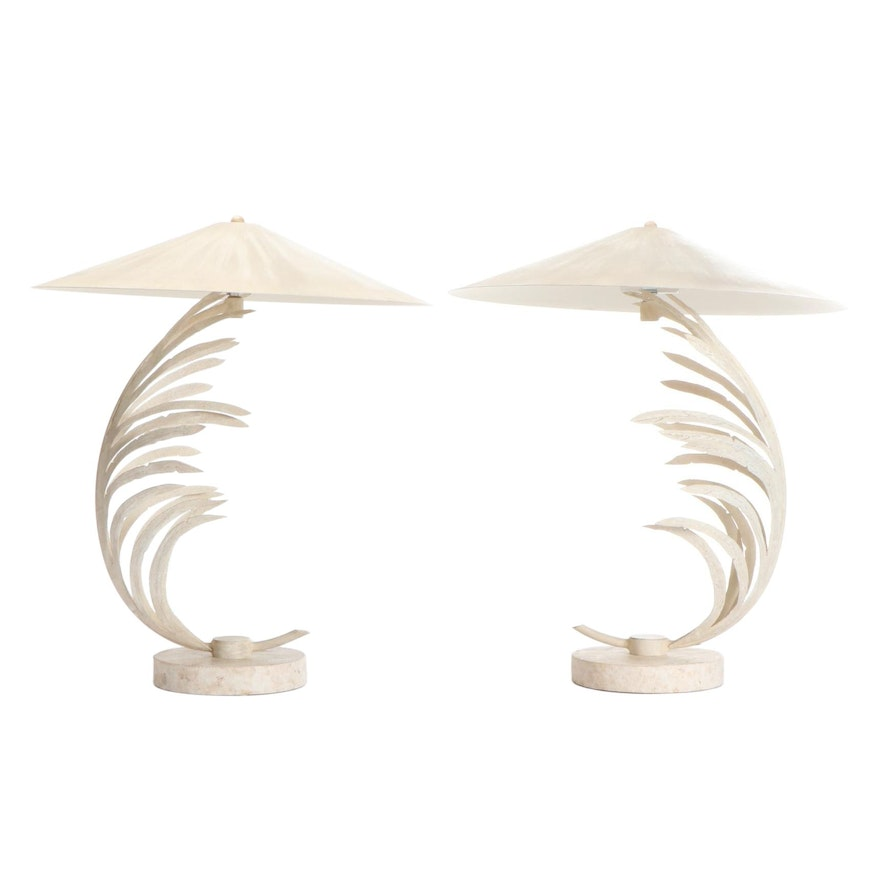 Michael Taylor for Fine Art Lamp Co. Travertine and Metal Palm Frond Lamps