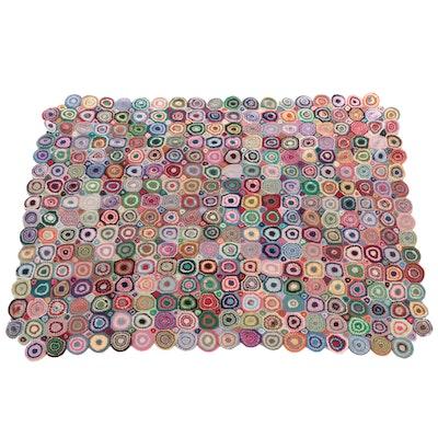 Handmade Crocheted Yo-Yo Afghan Blanket, Mid to Late 20th Century